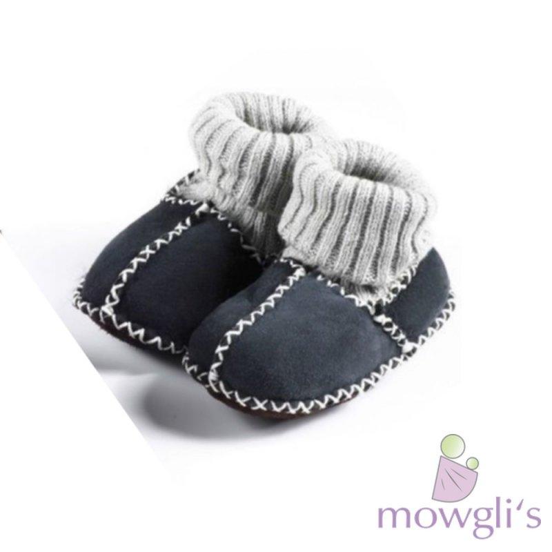 best sneakers 99b93 e7d42 Lammfell Babyschuhe mit Bündchen marine