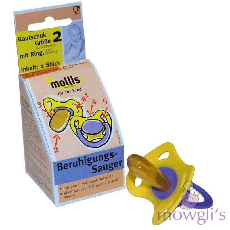 Mollis Beruhigungs Sauger Größe 1 Kautschuk mit Ring Schnuller 2 Stück